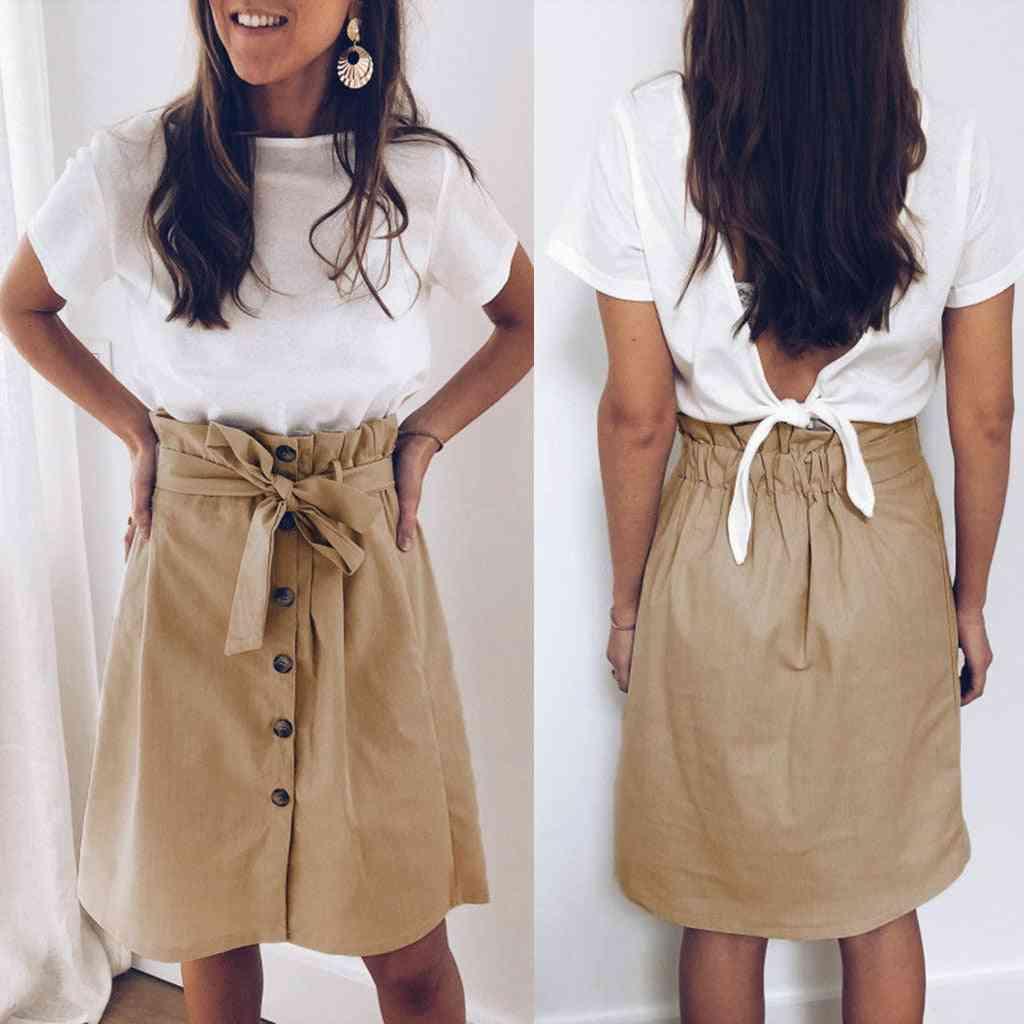 Asymmetric Belt Suede Skirts, Women Leather Spring High Waist Bandage Short