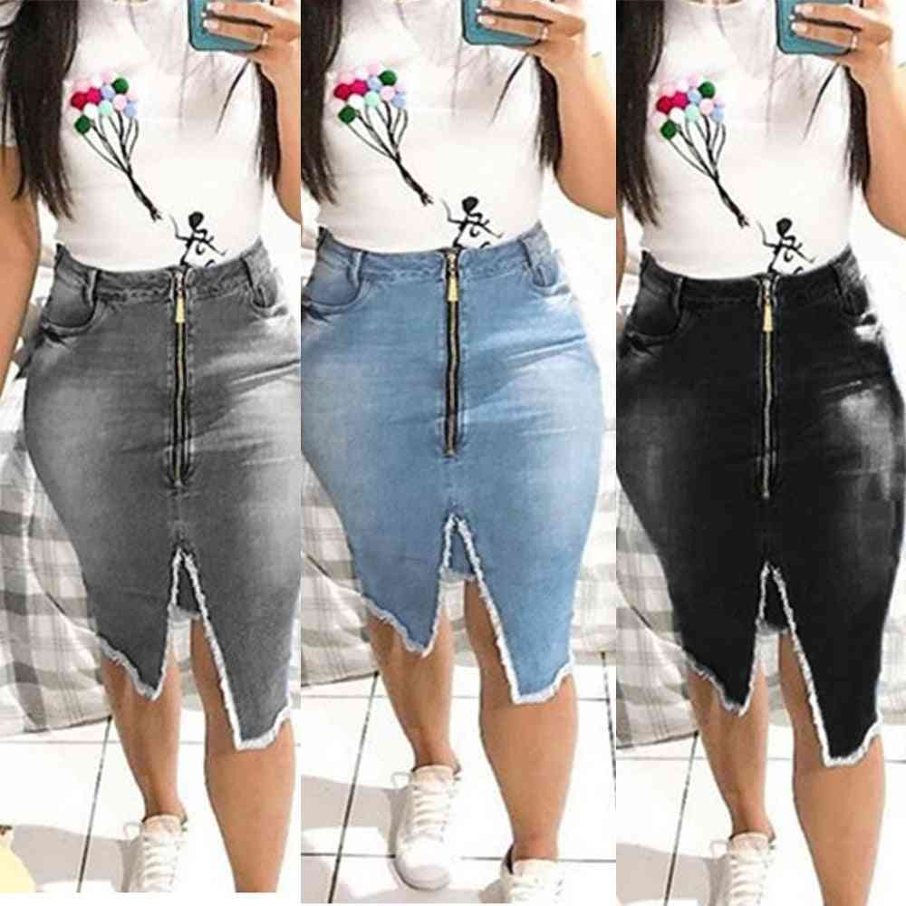 Zipper Tassel Slim, Fringe-side, Denim Skirt's