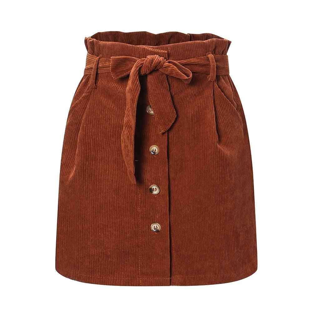 Autumn & Winter Women's Flower Bud Skirt, Corduroy High Waist Micro Mini Skirts