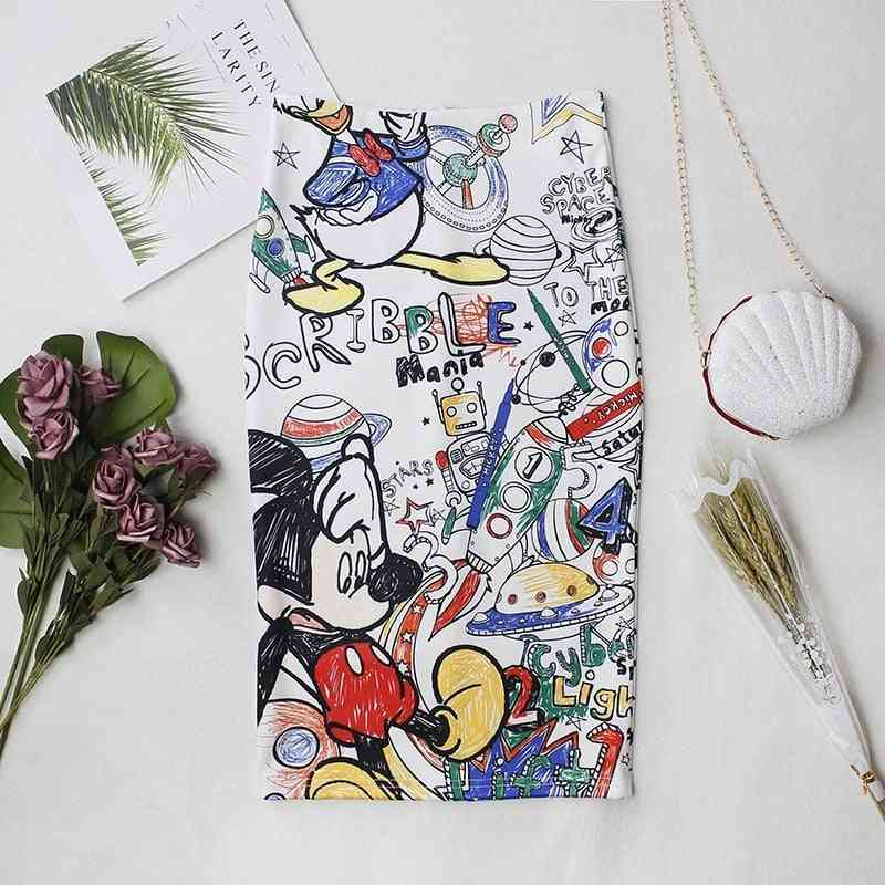 Mickey Mouse Women Cartoon Printed Wrapped Skirt, High-waist Slim-fit