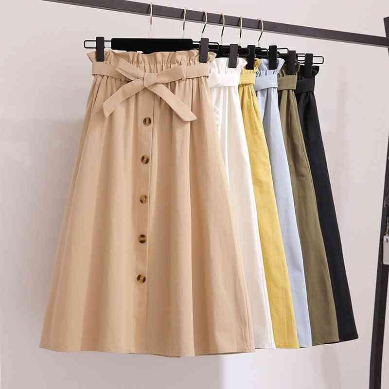 Women Single Buckled Bow Solid Cotton Skirt, Slim Retro Belt Pocket Knee Length