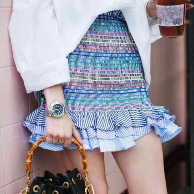 Women Fashion Elastic Waist, Tiered Ruffle, Flower Print, Mini Skirts