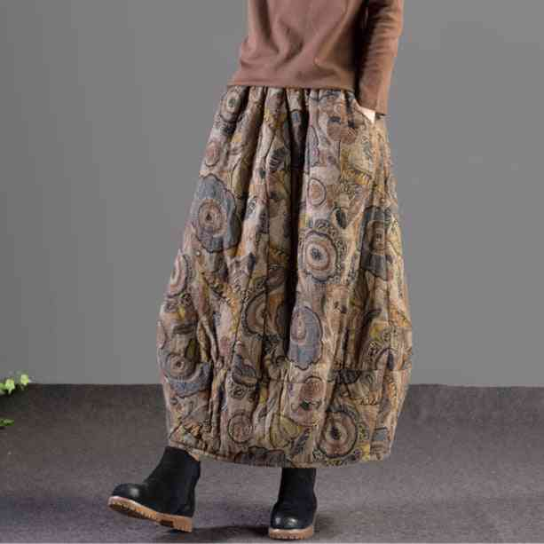 Retro Style, Printed Thicker Warm Skirts With Pocket