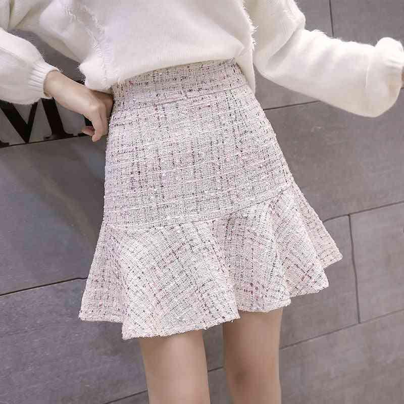 High Waist Tweed Skirt With Button