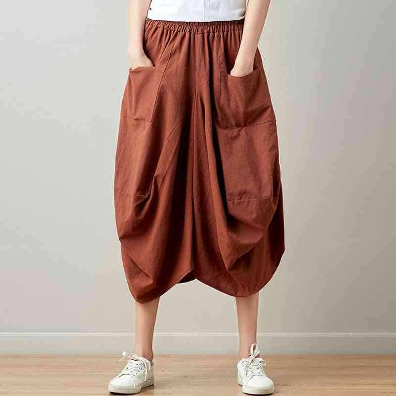 Summer- Casual Plaid, Bud Pockets Pleated, Knee-length Skirts