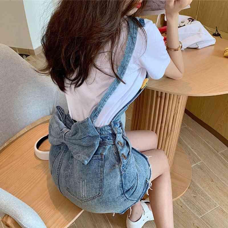 Bow Strap Denim Skirts Female Summer New Hole Zipper Overall Women Suspenders Slim Pocket Buttons