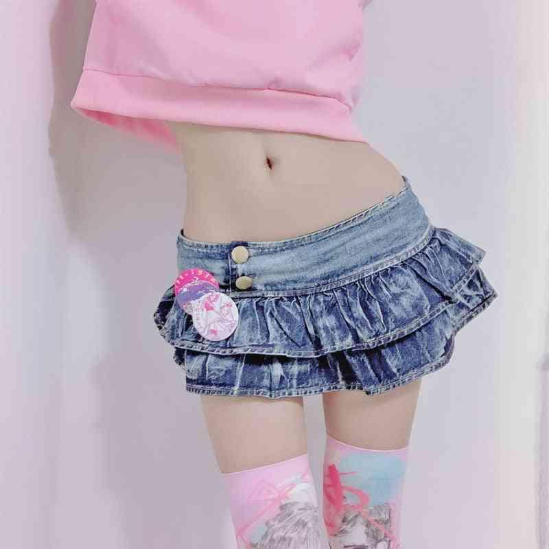 Pleated Super Mini Denim Skirts