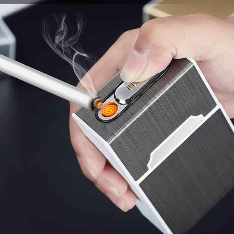 Usb Rechargeable- Electric Lighter, Cigarette Case Holder