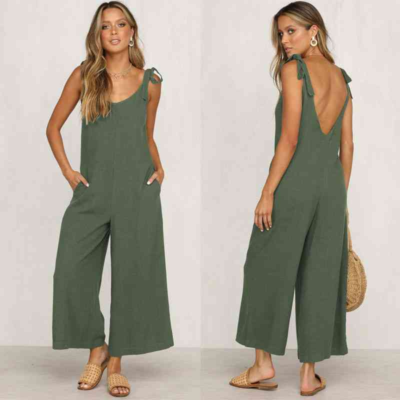 Casual- Loose Pants, Overalls Straps, Jumpsuit Romper, Trousers