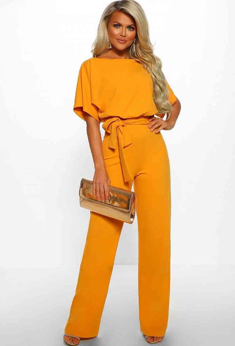 Womens Overalls Jumpsuits, Streetwear Plus Size Romper Lace-up Short Sleeve