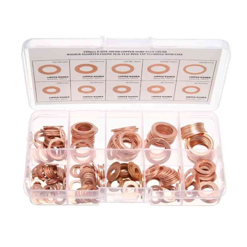 Solid Copper Washer M5-m14 Full Gasket Seal/flat Ring Fuel Hydraulic Fittings Set