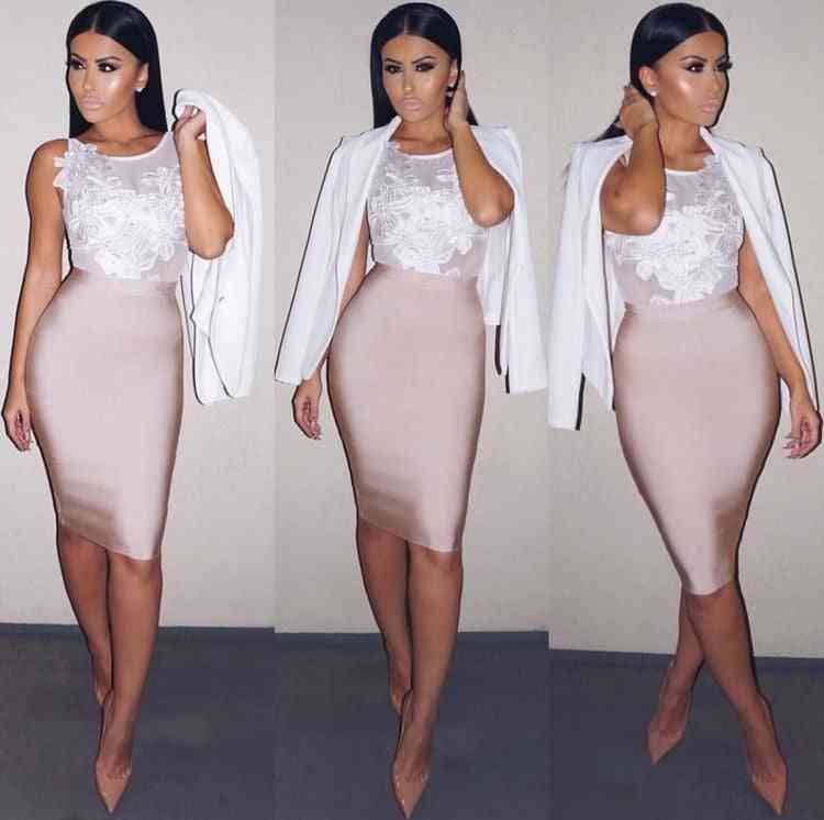 Solid Summer Bodycon, Party Bandage Pencil Skirt