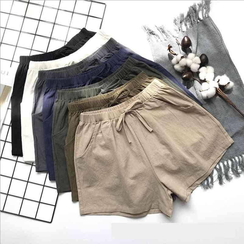 Women Summer Flax Shorts, Cotton Linen Trousers High Waist Loose Comfortable