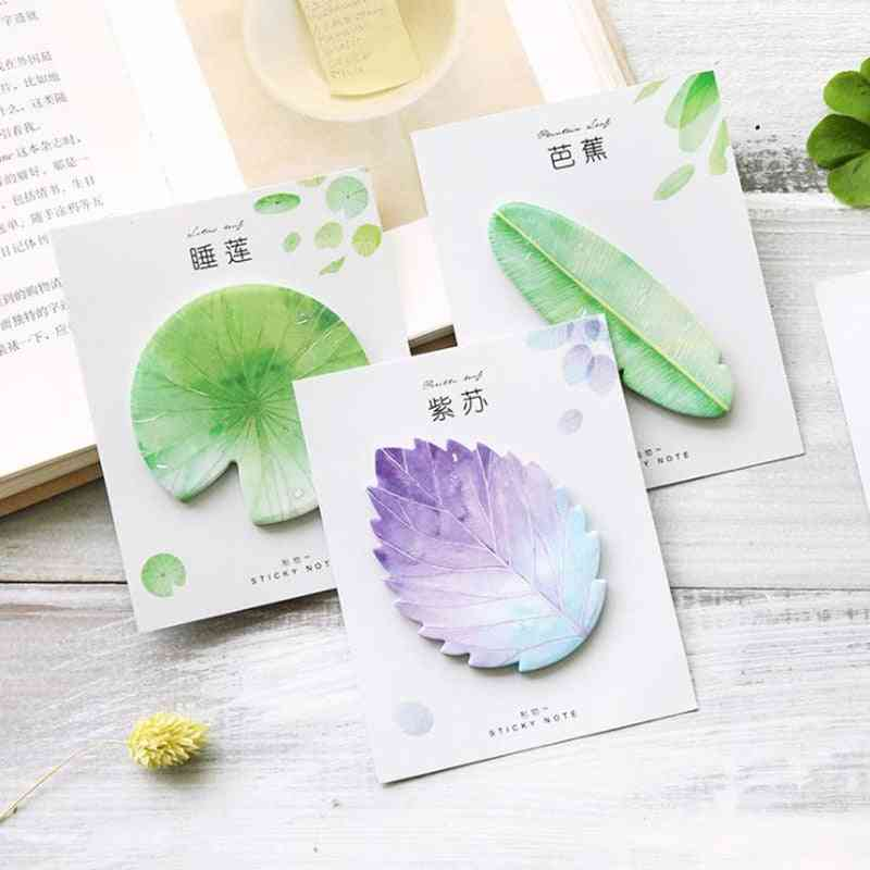 Kawaii Memo Pad Bookmarks Creative Leaves Sticky Notes