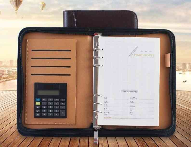 A5 Business Padfolio With Calculator With Pu Leather Cover