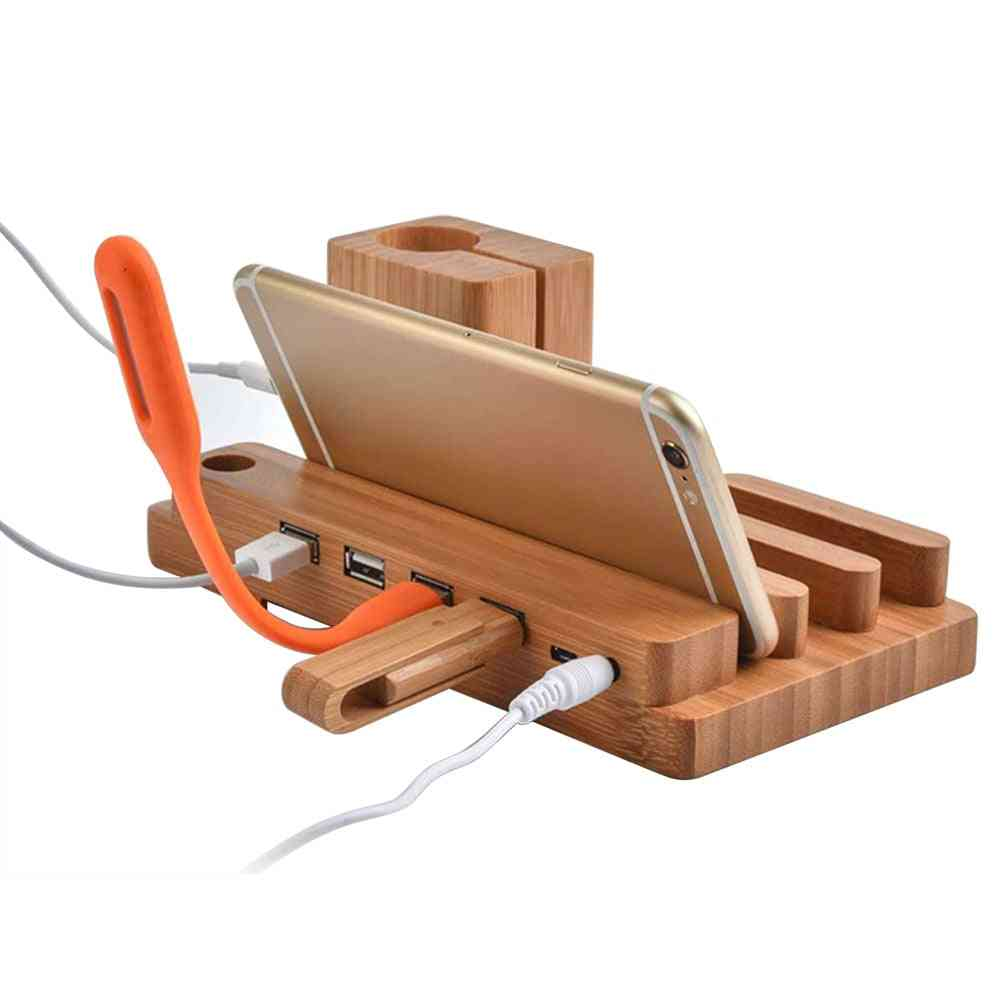 Usb Charger Station Watch Fast Charging Dock Bamboo Wood Stand Holder