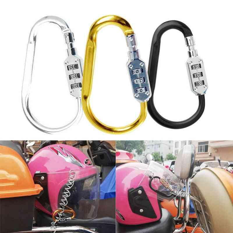 Motorcycle Helmet Lock, With Steel Wire Cable Toug Carabiner