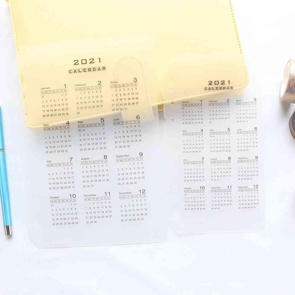 Transparent Index, Divider Calendar For 6-rings Binder, Spiral Notebooks