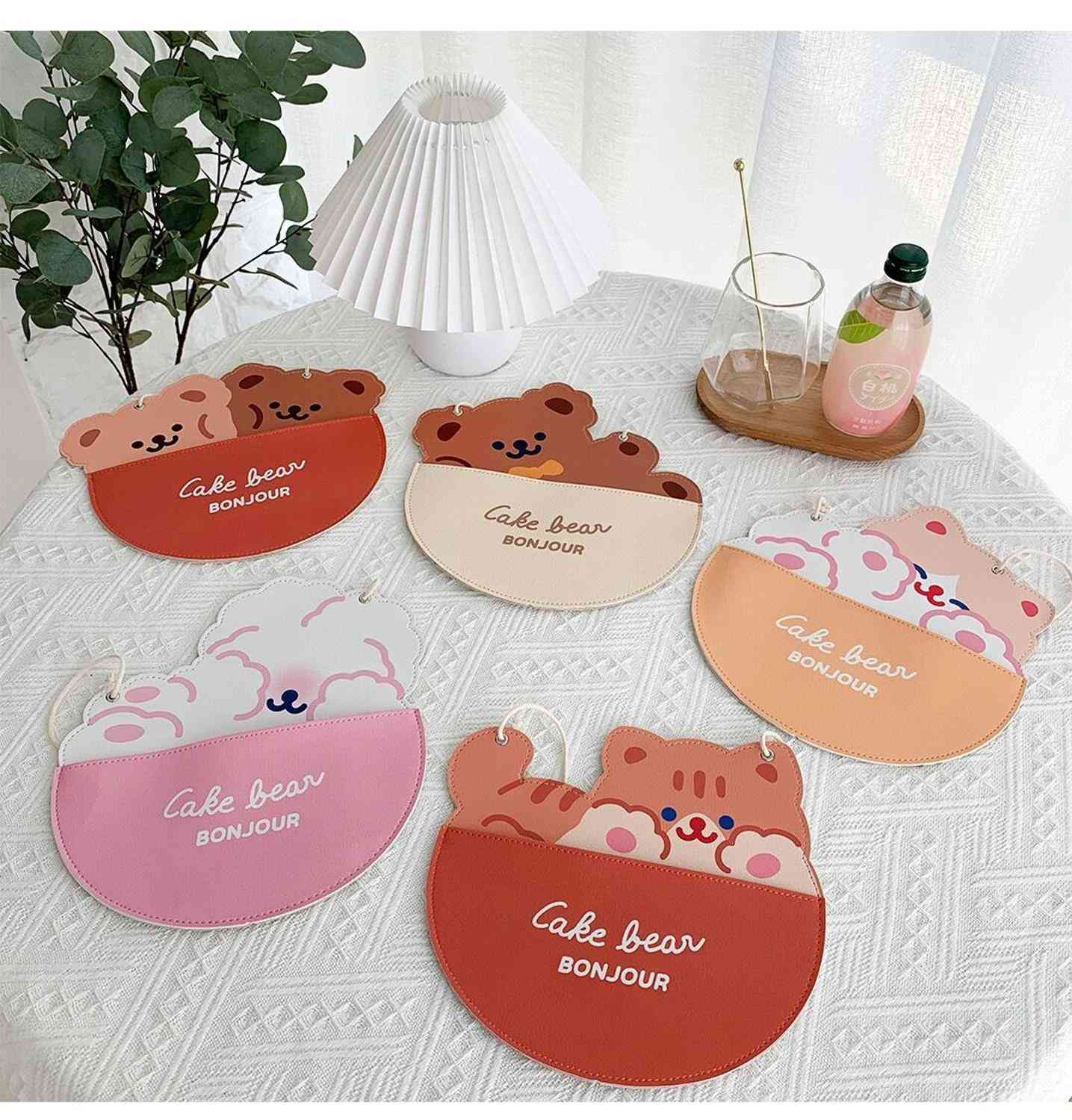 Cute Bear Wall Hanging Bag And Cat Rabbit Carton, Coin Purse For Decoration