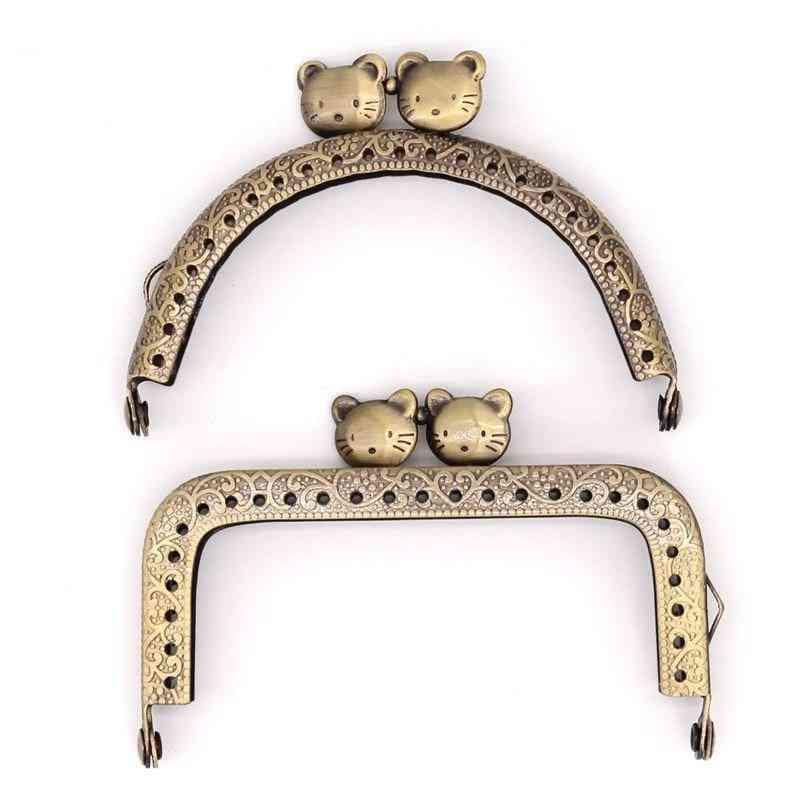 Cat Metal Purse Frame Handle For Clutch Handbag