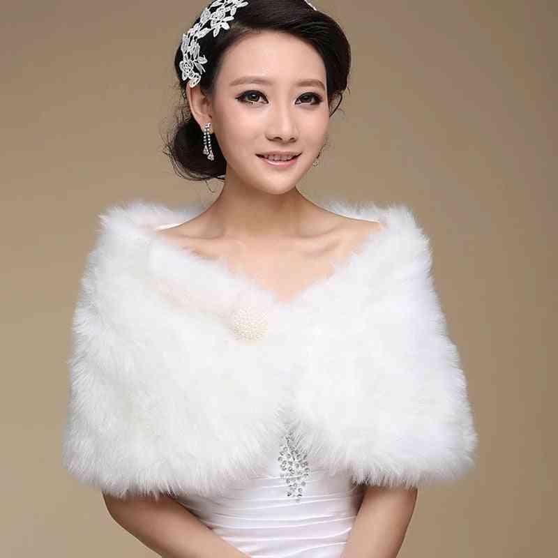 Urged Wrap Bride Formal Winter Cape Fur Shawl Jackets