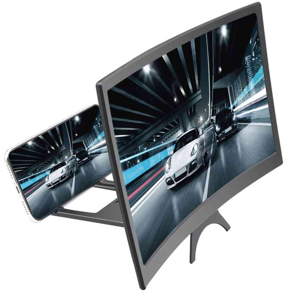 Mobile Phone Curved Screen Amplifier, Magnifying Glass Stand Bracket Phones Foldable Holder