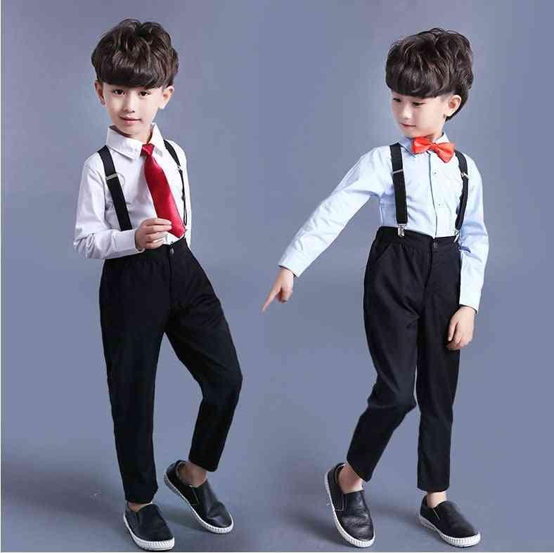 Boy's Classic Brace Pant, Boy Suit, Cotton Wedding Party Dress