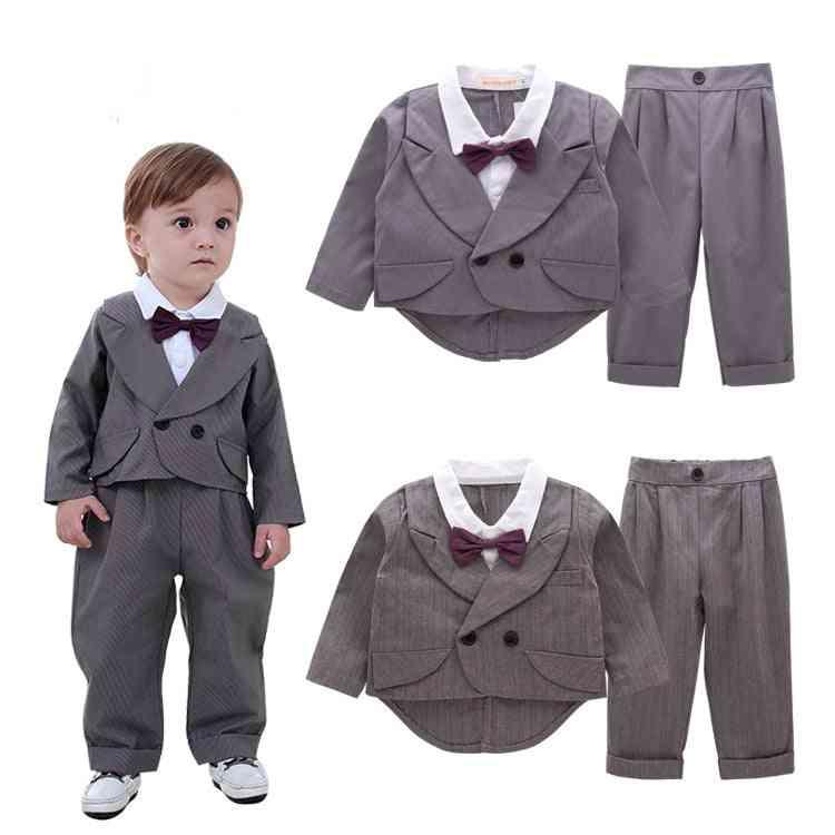 Children's Tuxedo Flower Boy's Suit, Grey Stripe For Wedding, Kids Prom
