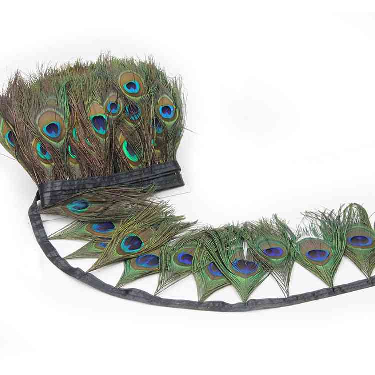 Exotic Peacock Eyes, Feather Trim (as Picture)