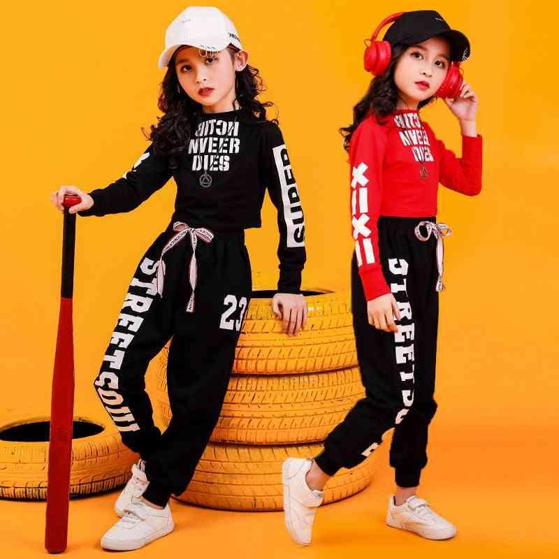 Kid Hip Hop Sweatshirt Top Crop Shirts Running Casual Pants For Jazz Dance Clothes