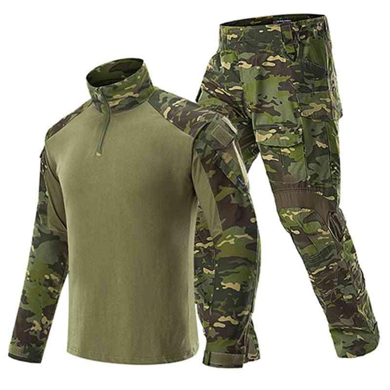 Man Military Tactical Uniforms, Army Combat Suit Long Sleeve T-shirts & Pants Set
