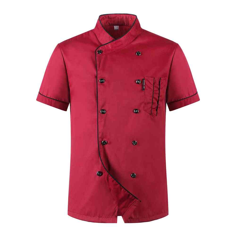 Unisex Casual Soft Chef Jackets With Short Sleeves