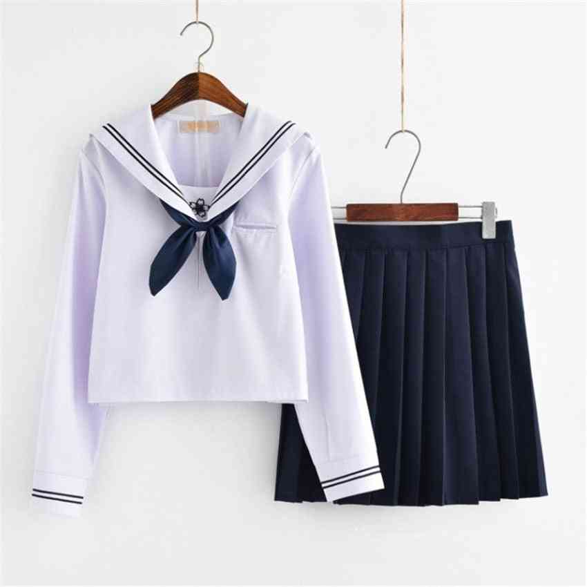 Fashion College Uniform, Sailor Costume, Pleated Shirt, Sweater For