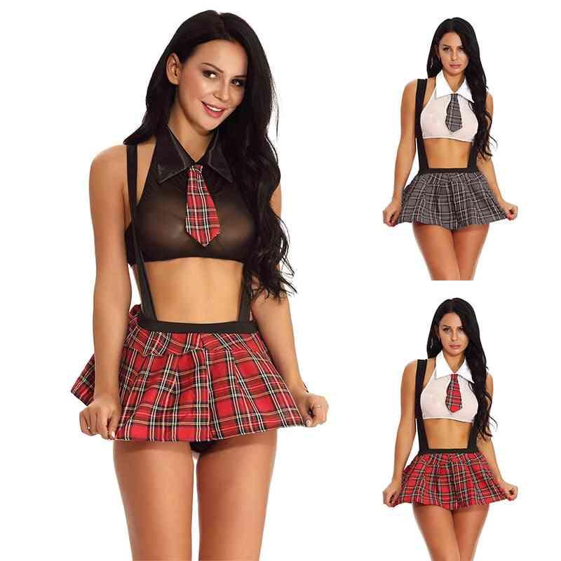 Schoolgirl Cosplay Role Play Costumes, Plaid Night Halloween Women Uniform