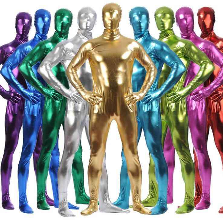 Shiny Metallic Long Sleeve Full Body Zentai Suit