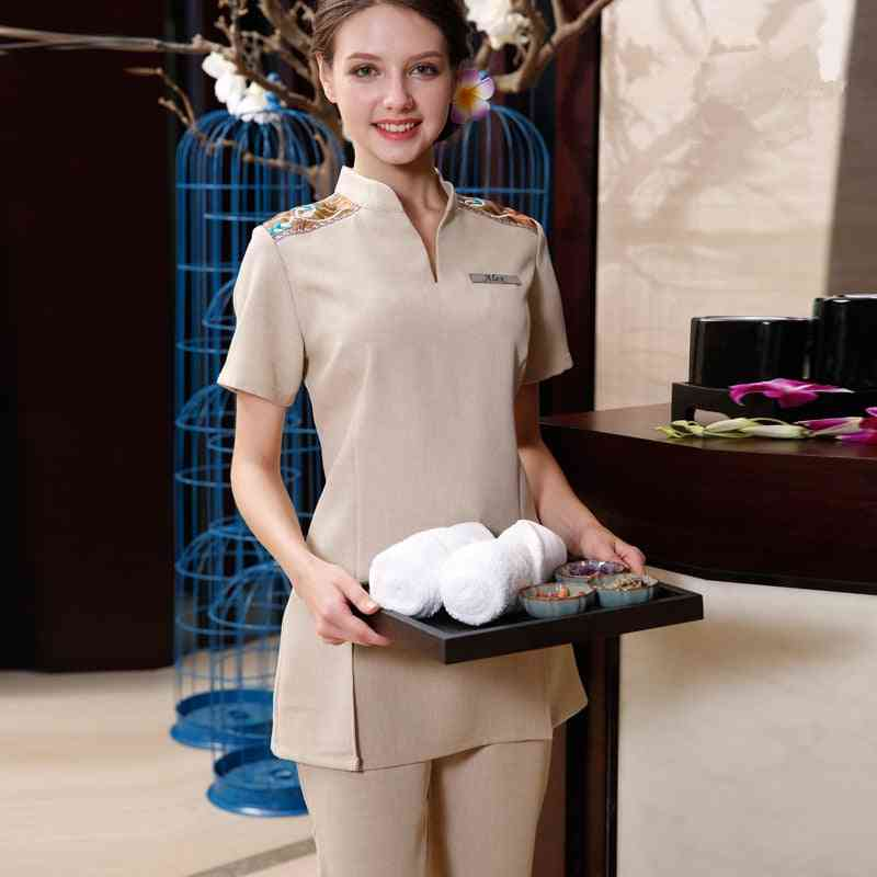 Beautician Work Clothes-embroidered Top And Pants