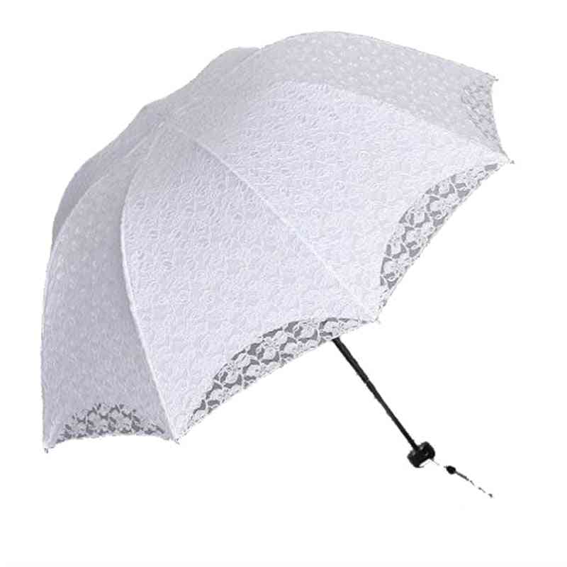 Summer Foldable Lace Umbrellas, Steel Handle Cotton Embroidery Parasol
