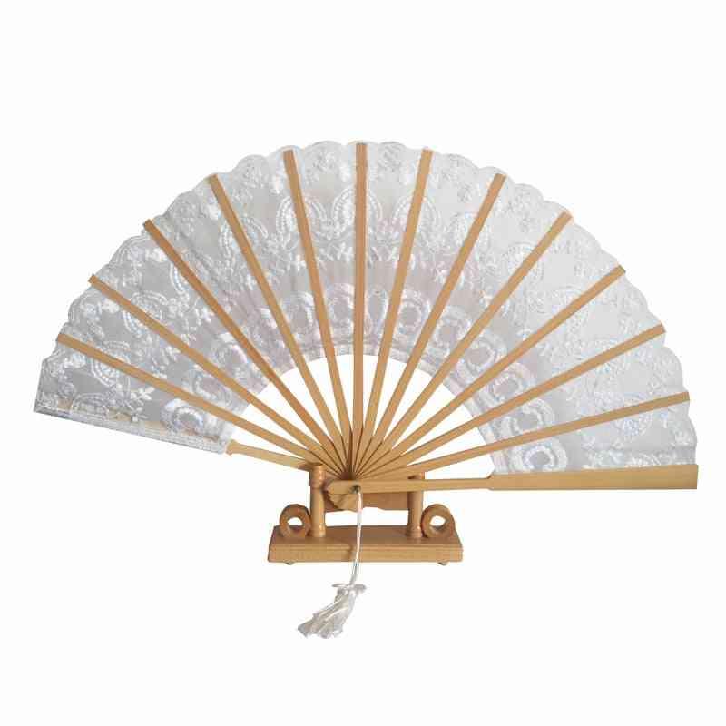 Lace Hand Fan & Bamboo Stem Folding Cotton