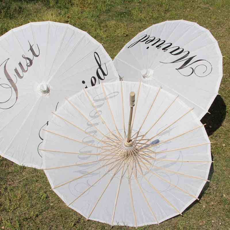 Sun Paper- Just Married, Painted Paper Wedding Prop, Decoration Umbrella