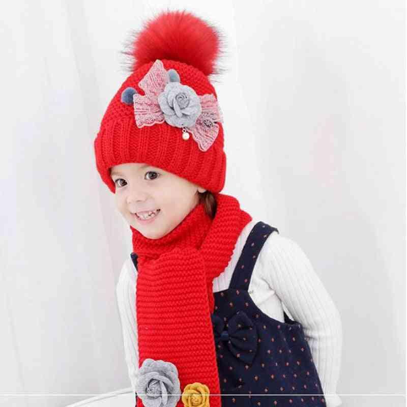 Doitbest Flower Hailball Beanies Sets, Baby Girl Scarf Hat Set