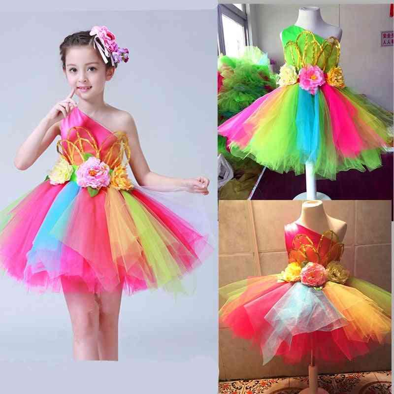 Colorful Flowers Standart Salsa Costume Dance Dress For