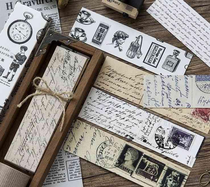 30pcs/box Vintage Retro Style, Clock/newspaper/map Printed-bookmarks