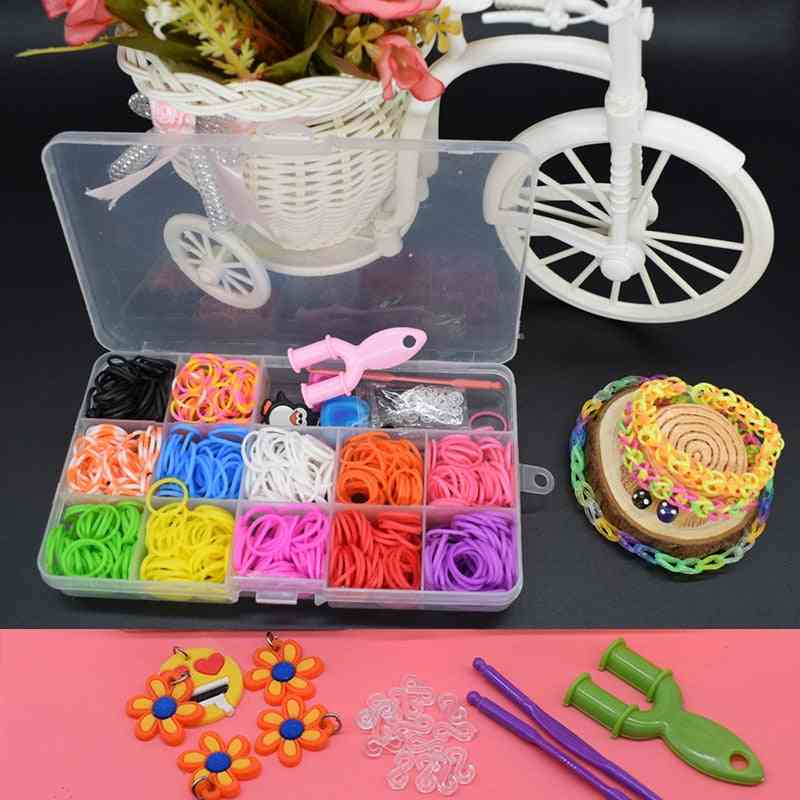 Rubber Loom Bands, Elastic Weaving Lacing Bracelet Toy, Gum Diy Material Set