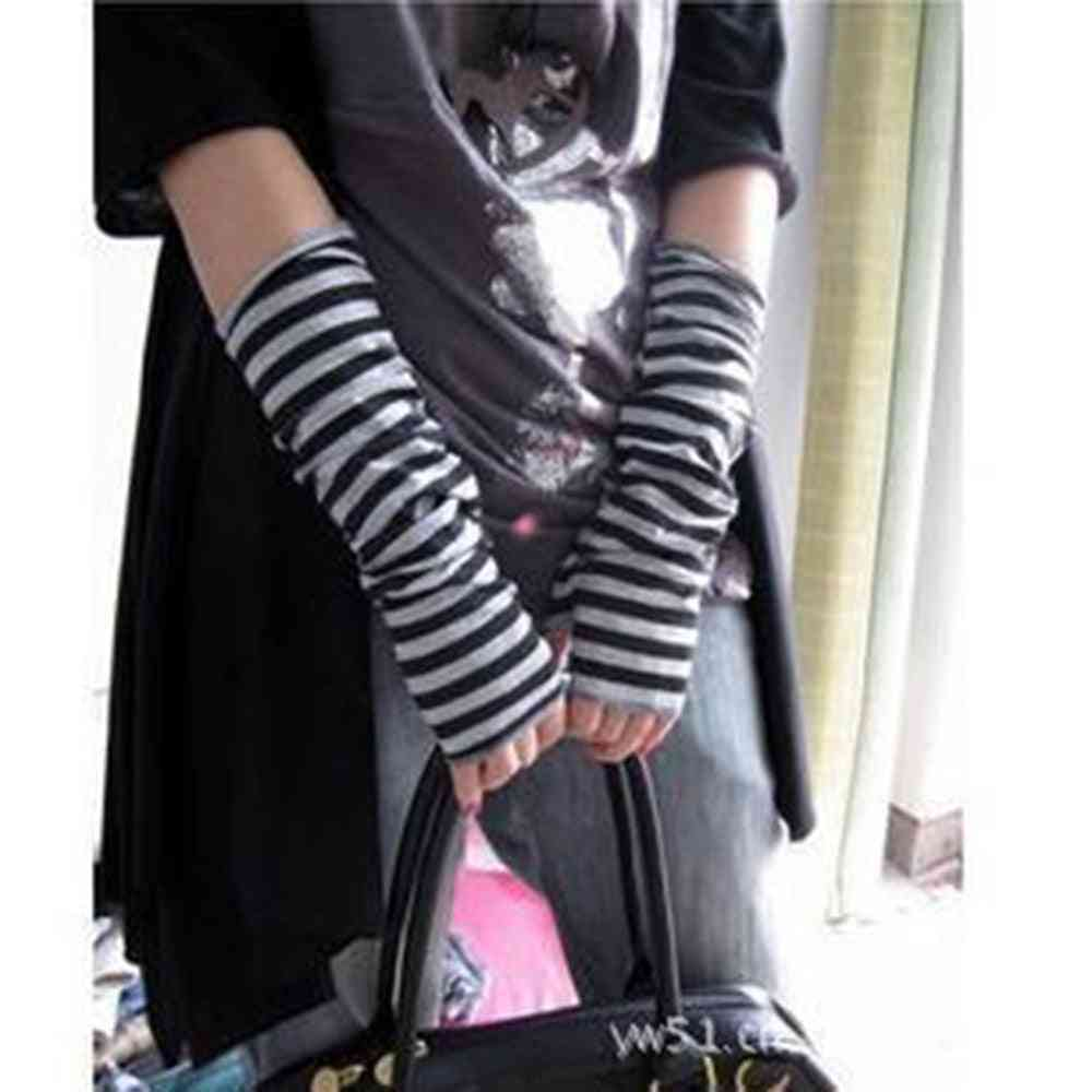 Arm Warmers Knitted Fingerless Long Sleeve Soft Striped Elbow Gloves
