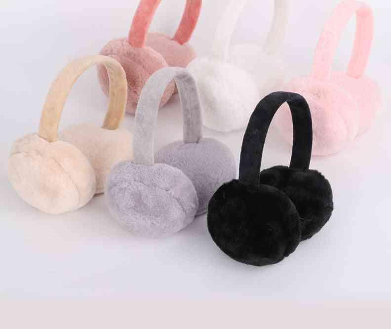 Winter Warm Adjustable Knitted Faux Fur Plush Earmuffs Warmers