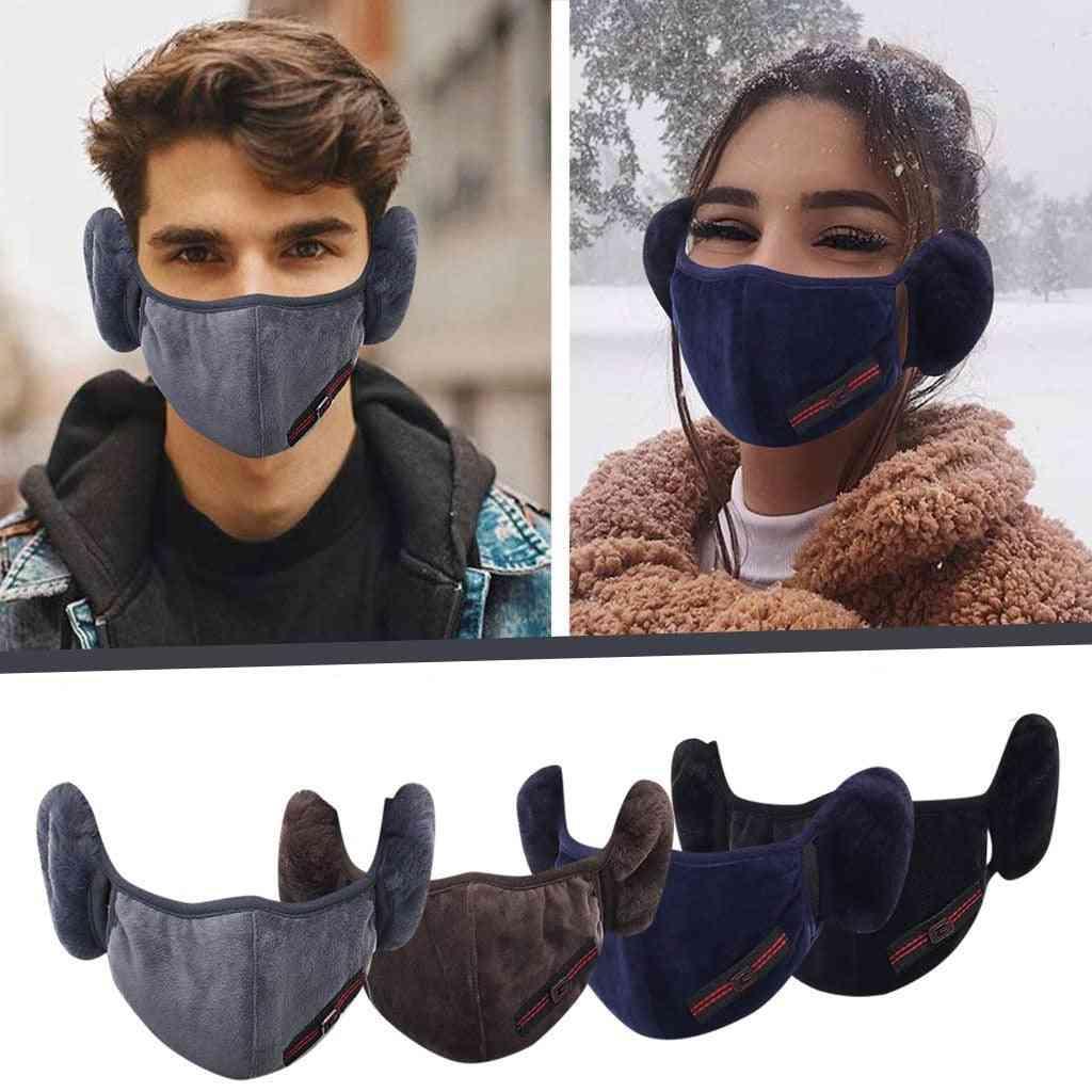 Autumn Winter Warm Plush Reusable, Breathable Ear Muff Wrap Band, Face Mask