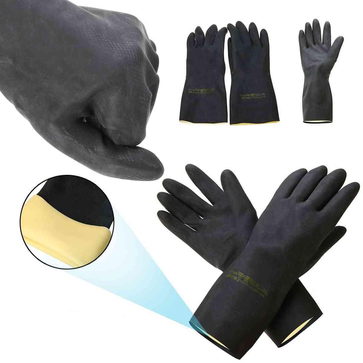 2pcs Heavy Duty, Natural Rubber Gloves -acid Alkali Resistant For Garden