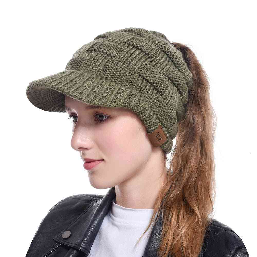 Newsboy Cap Winter Hat Visor Beret Cold Weather Knitted