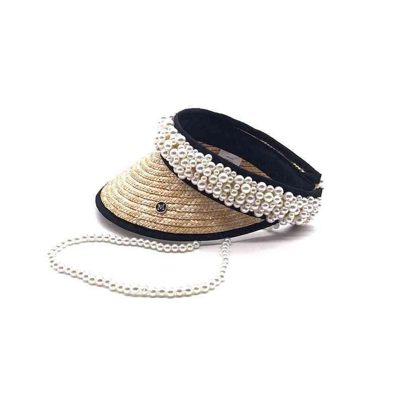 Summer Pearl Ribbon Handmade  Straw Without Leisure Lady  Visors Cap& Baseball   Hat