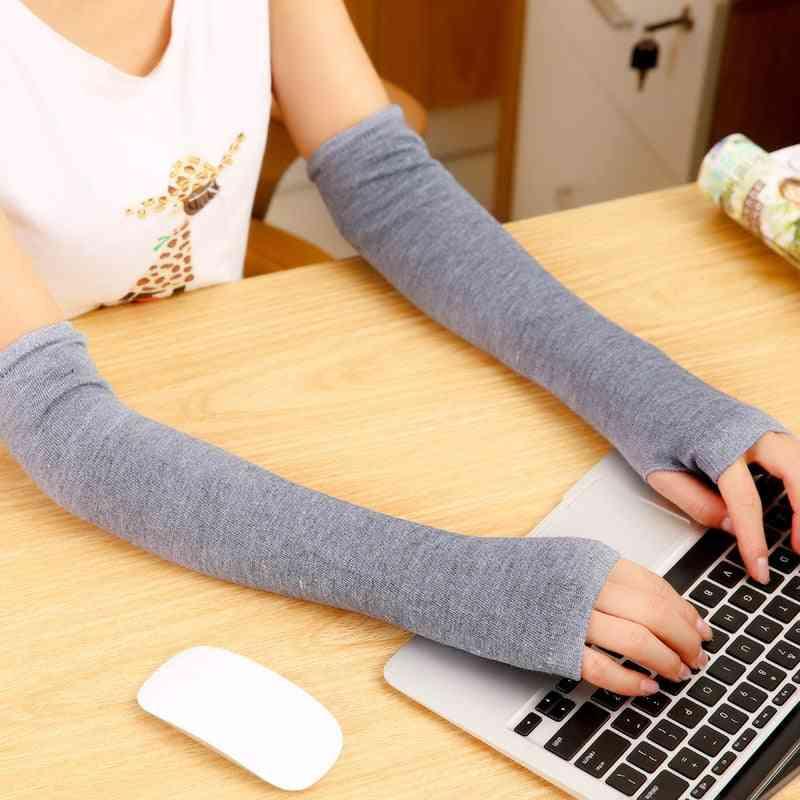 Winter, Autumn Wrist Arm Hand Warmers, Long Fingerless Sleeve Gloves
